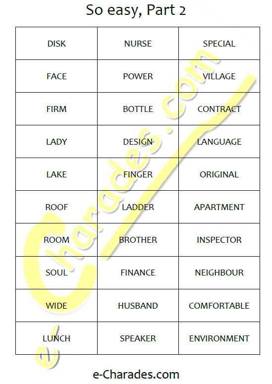 picture about Printable Charades titled Cost-free printable phrase listing - e-Charades